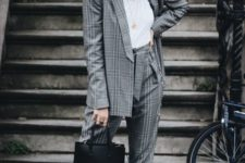 08 wear a trendy plaid pantsuit with trainers instead of heels to make it look more edgy