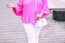 09 a neon pink off the shoulder top features 2 trends in one, white jeans, brown shoes and a white bag