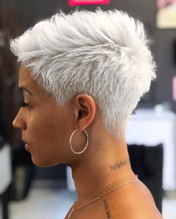 an icy blonde short pixie is a great solution with both the length and the color