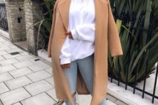 09 pair an oversized sweatshirt with ripped skinnies, heels and a classic camel coat