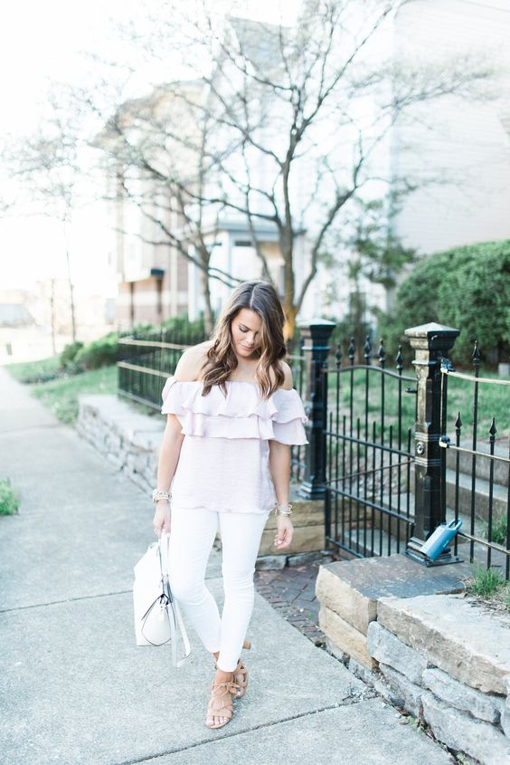 a pastel spring look with a blush off the shoulder ruffle top, white jeans, a white bag and nude lace up shoes