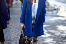 10 spruce up your neutral or monochromatic outfit with a classic blue coat and booties for a trendy feel