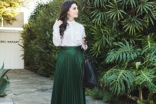 11 a chic work look with a white shirt, an emerald pleated midi, nude shoes, a black oversized bag