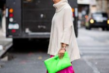11 a nude cashmere oversized sweater, a neon pink maxi skirt, kitten heels and a neon green clutch
