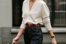 11 a white cardigan worn as a top, black straight jeans, a brown crocodile bag and a matching belt