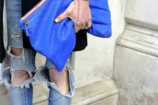 11 an oversized classic blue clutch with a colorful zip is a trendy idea – oversized bags are in trend