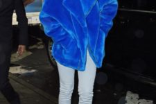 12 a classic blue faux fur short coat with a zip is stylishly rocked by Rihanna