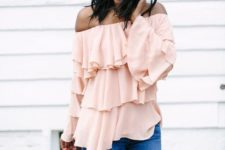 12 a romantic spring outfit with a layered blush off the shoulder top, which is 2 trends, and blue jeans