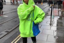 a stylish look in a neon hoodie