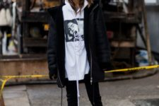 12 an oversized hoodie and a black shearling coat for a super cool and edgy look