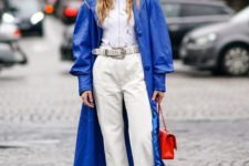 13 a classic blue leather trench is a solution for very daring girls