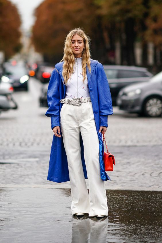 a classic blue leather trench is a solution for very daring girls