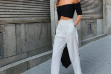 13 a sexy minimalist spring outfit with a black off the shoulder top, white cropped pants, black shoes and a bag