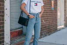 13 a white printed tee, light blue boyfriends, white sneakers and a black bag for every day