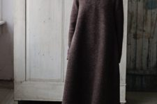 14 an oversized brown minimalist A-line sweater dress plus matching brown boots for winter