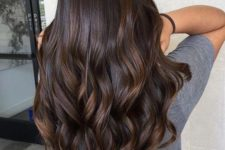 14 dark chocolate hair with chestnut highlights and waves is a classic idea that works anytime
