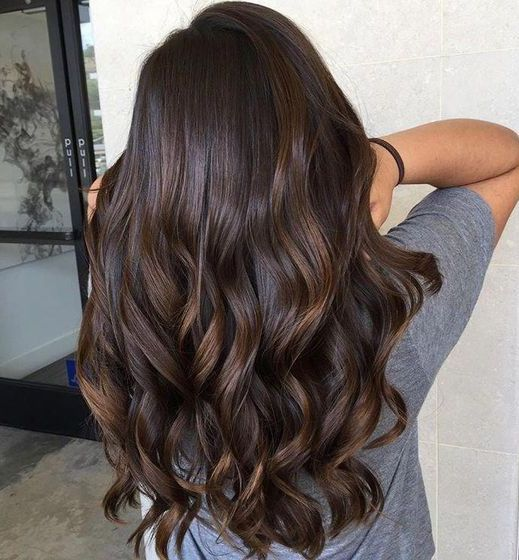 dark chocolate hair with chestnut highlights and waves is a classic idea that works anytime