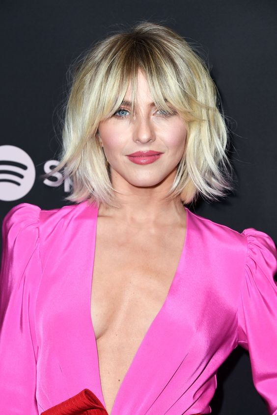 short blonde hair with shaggy bangs - you don't need to change your length to look chic