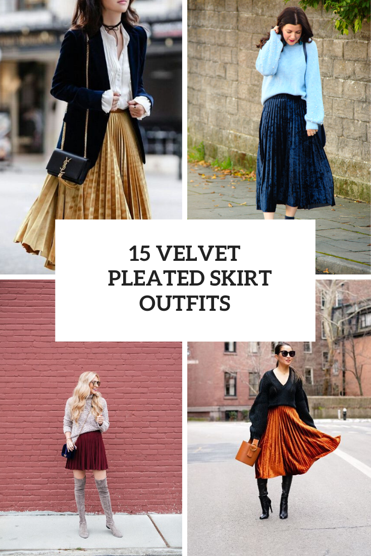 15 Fabulous Outfits With Velvet Pleated Skirts