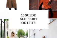 15 Outfits With Suede Slit Skirts