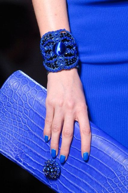 a statement classic blue bracelet of ropes and beads is a trendy fashion accessory to rock