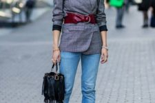 15 highlight your blazer with a red wide waist belt to add color to your waist and an accent
