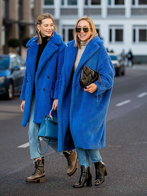 oversized midi classic blue faux fur coats will add a trendy touch to your look