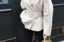 16 spruce up with neutral oversized jacket or blazer with a matching wide waist belt to highlight the look