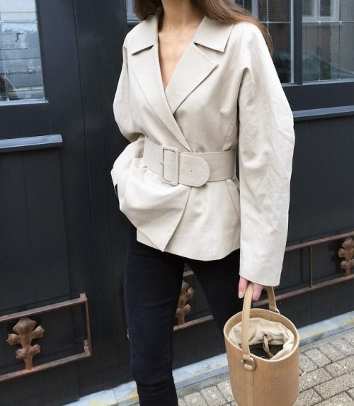 spruce up with neutral oversized jacket or blazer with a matching wide waist belt to highlight the look