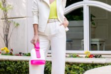16 white pants, a white jacket, a neon yellow top and a neon accented bag plus nude heels for work