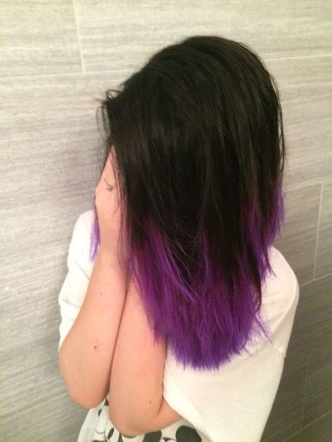black hair with purple dip dye ends looks very bold, it's your own style statement