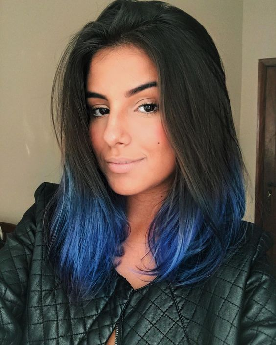 blue shades are a nice idea to add a colorful statement to your hair and rock the dip dye trend