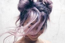 26 beautiful lilac hair done into a fancy updo with two knots and some long wavy locks down