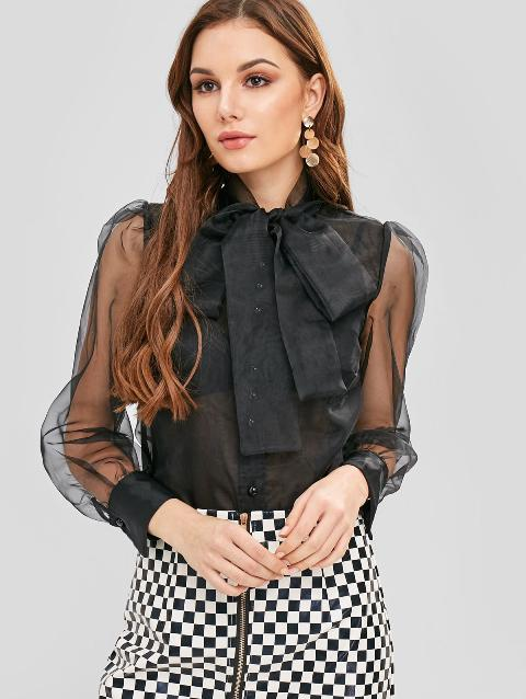 With black and white checked zipper skirt