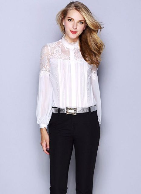 With black classic pants and silver belt