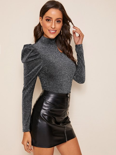 With black leather high-waisted mini skirt