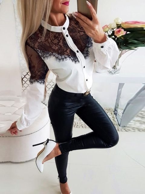 With black leather skinny pants and white pumps