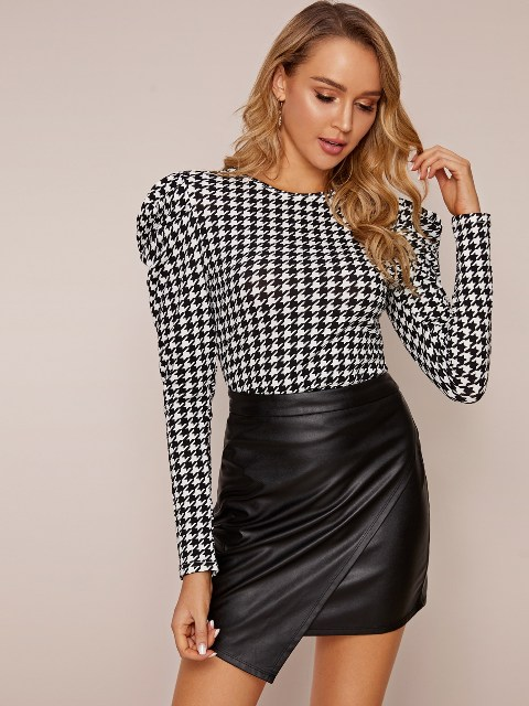 With black leather wrapped skirt
