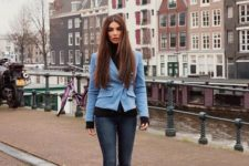 With black turtleneck, light blue blazer and skinny jeans