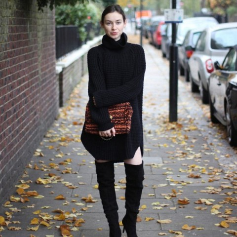 With black turtleneck sweater dress and over the knee boots