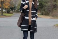 With brown hoodie, cuffed jeans, brown bag and leopard shoes