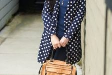 With checked shirt, navy blue sweater, jeans, brown bag and leopard pumps