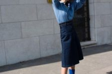 With denim midi skirt and light blue button down shirt
