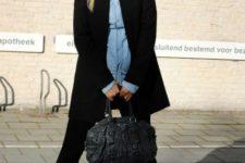 With denim shirt, black long blazer, bag and leggings
