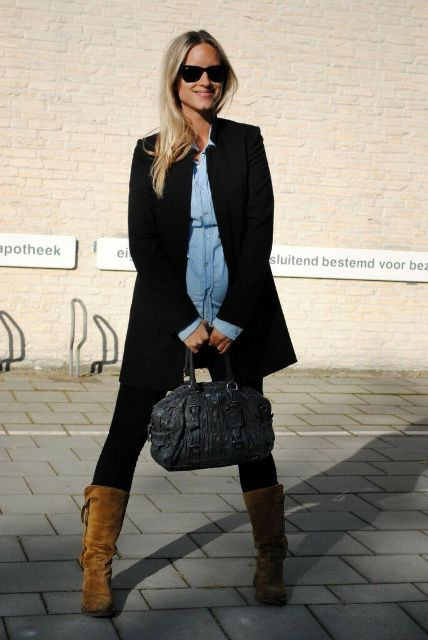 With denim shirt, black long blazer, bag and leggings