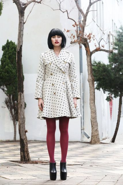 With dress, marsala tights and black platform boots