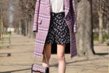 With floral shorts, printed shoes, tweed chain strap bag and white blouse
