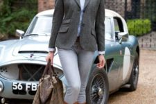 With gray blazer, jeans, brown high boots, button down shirt and printed scarf