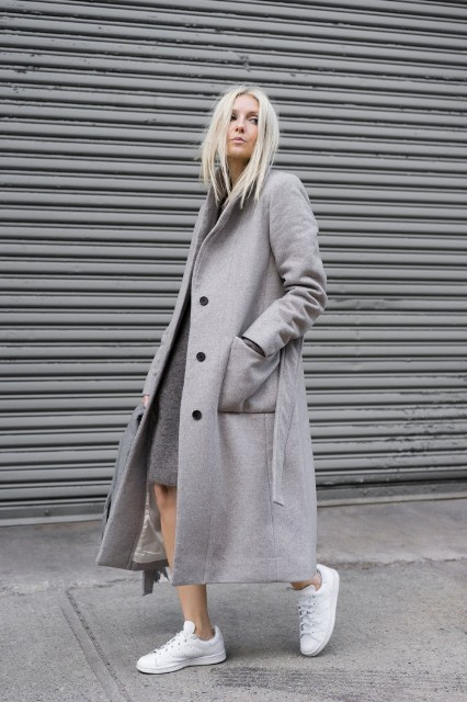 With gray knee length dress and white sneakers