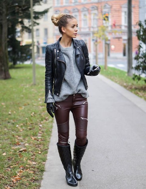 With gray loose sweater, marsala leather pants, black leather jacket and high boots